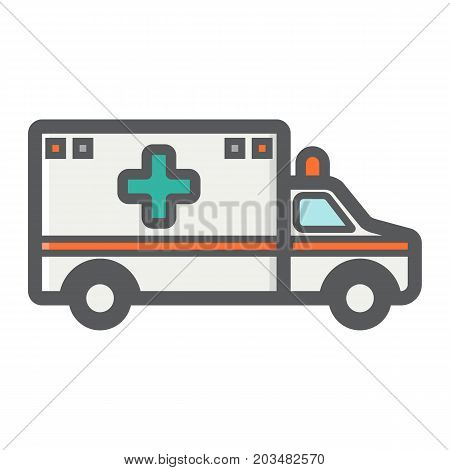 Ambulance filled outline icon, medicine and healthcare, transport sign vector graphics, a colorful line pattern on a white background, eps 10.