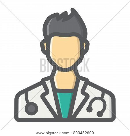Doctor filled outline icon, medicine and healthcare, person sign vector graphics, a colorful line pattern on a white background, eps 10.