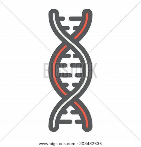 DNA filled outline icon, medicine and healthcare, genetic sign vector graphics, a colorful line pattern on a white background, eps 10.