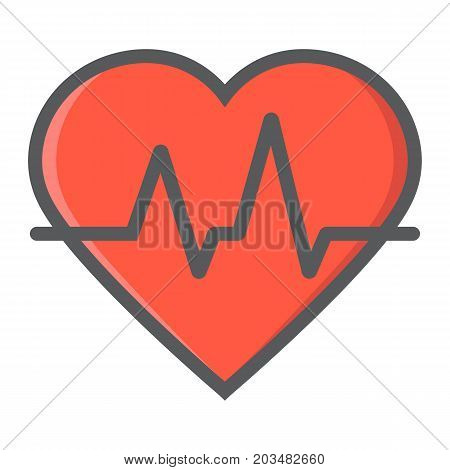 Heartbeat filled outline icon, medicine and healthcare, pulse sign vector graphics, a colorful line pattern on a white background, eps 10.