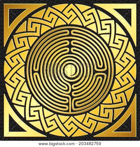 Traditional vintage Golden round Greek ornament, Meander pattern on black background