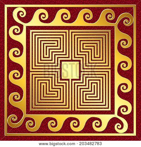Traditional vintage Golden square Greek ornament, Meander pattern on a red background