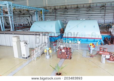 Turbines in the Engine Room for Steam Turbines of the Kursk Nuclear Power Plant