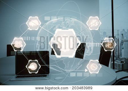 Modern meeting room with laptop digital business hologram and city view. Media concept. Double exposure