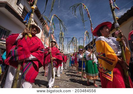 June 17 2017 Pujili Ecuador: at Corpus Christi beside religious rituals traditional Andean harvest and sun festivities are taking place