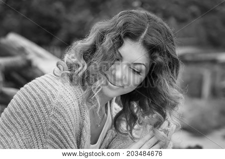 portrait happy beautiful young woman in the spring time (Black and white)