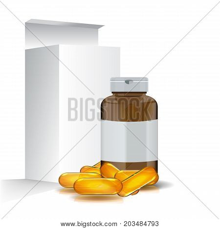 Blank realistic Omega 3 Package Design with fish oil pills. Front view mock up.