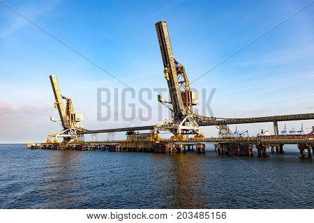 Coal pier at morning in port of Gdansk Poland.