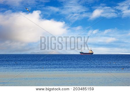 A cargo ship floating on a calm sea.