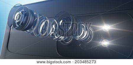 Disassembled Smartphone Camera, Matrix Concept