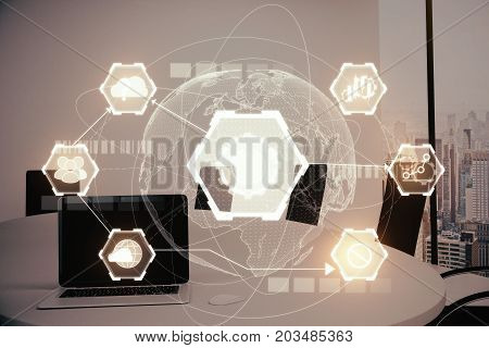 Modern meeting room with laptop digital business hologram and city view. Infograph concept. Double exposure