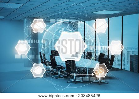 Modern conference room interior with glowing business chart projection. Interface and future concept. Double exposure
