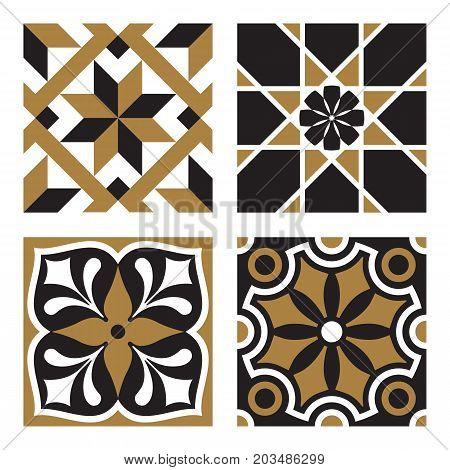 Vector vintage ornamental tile patterns in black and gold