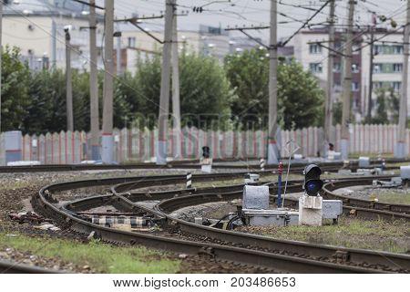 Railway tracks and infrastructure near station Terminus, telephoto shot