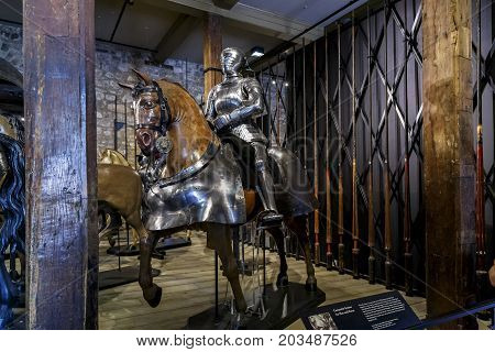 LONDON, GREAT BRITAIN - MAY 16, 2014: This is a royal knight's armor in the Armory Chamber of Henry VIII in the Tower of London.