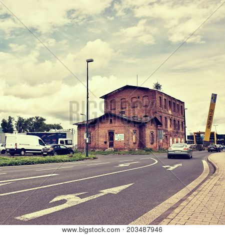 Litomerice, Czech Rebublic - August 29, 2017: Historical Industrial Building By
