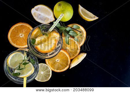 Fresh Homemade Lemonade In Glass With Ice And Mint.