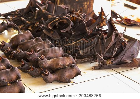 Bats At Market In Indonesia