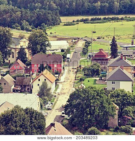 Jestrebi, Czech Republic - August 19, 2017: Reconstruction Of Street Leading To Road 38 In Summer Ho