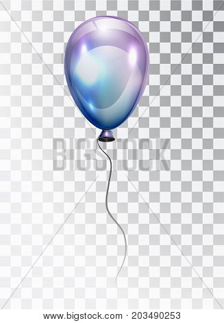 Air pearl ball with glare isolated on a transparent background. Blue-purple balloon. Balloon. vector for design. Card. The red ball in the air. 3d. Transparent isolated vector air ball.
