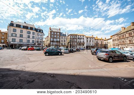 SAINT FLOUR, FRANCE - August 01, 2017: View on the old buildings on the central square of saint Flour town in Cantal region in France