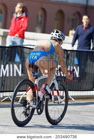 STOCKHOLM - AUG 26 2017: Closeup of female triathlete cyclist Ilaria Zane (ITA) in the Women's ITU World Triathlon series event August 26 2017 in Stockholm Sweden