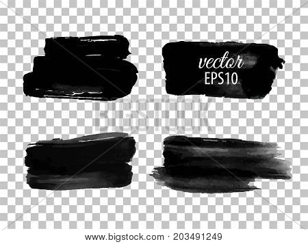 Set of abstract black ink blots. Isolated on white background. Vector illustration. Watercolor stain. Aquarelle, paint blotch. Speech bubble