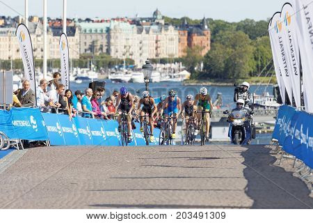 STOCKHOLM - AUG 26 2017: Climbing group of female triathlete cyclists Gentle Hewitt Lee and Miller in the Women's ITU World Triathlon series event August 26 2017 in Stockholm Sweden