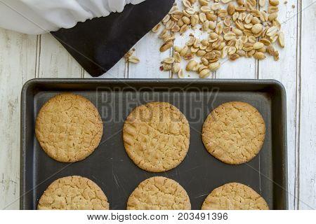 Sheet Of Fresh Peanut Butter Cookies