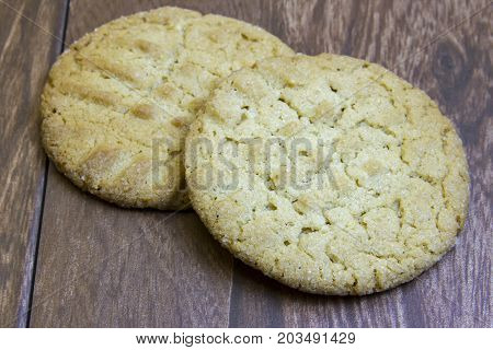 Fresh Peanut Butter Cookies On Wooden Boards