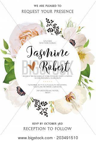 Wedding floral Invitation invite vector watercolor card Design with pink peach Rose flower magnolia camellia white flowers privet black berry wax plant leaf mix bouquet round elegant frame border