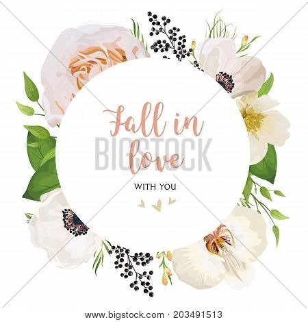 Floral Invitation wedding invite vector watercolor card Design with pink peach Rose flower magnolia camellia white flowers privet black berry wax leaf mix bouquet round wreath elegant frame border