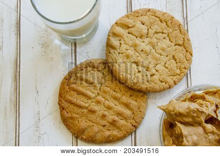 Fresh Peanut Butter Cookies And Milk With Peanut Butter