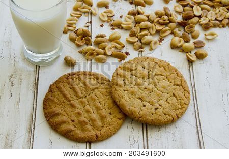 Fresh Baked Peanut Butter Cookies With Glass Of Milk