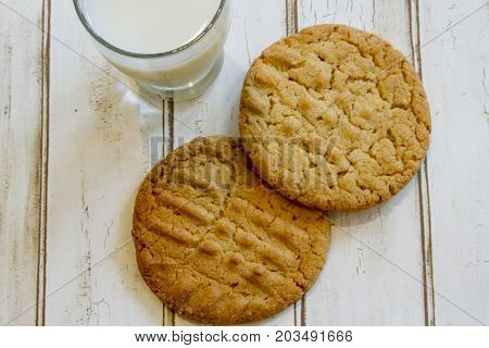 Flat Lay Of Fresh Peanut Butter Cookies And Milk