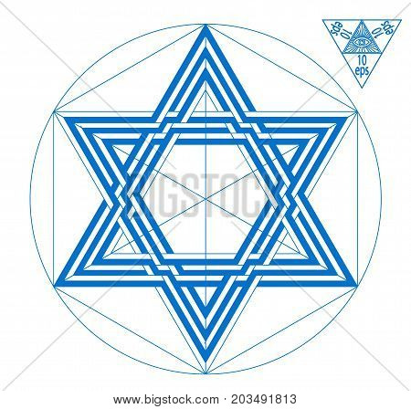 Star of David Shield of David ancient symbol, emblem in the form of six-pointed star hexagram , in which two identical triangles superposed are attached to the sides of a regular hexagon. geometry