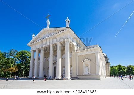Vilnius, Lithuania. Cathedral Basilica Of St. Stanislaus And St. Vladislav With The Bell Tower In Summer Sunny Day. Roman Catholic Cathedral At The Cathedral Square.