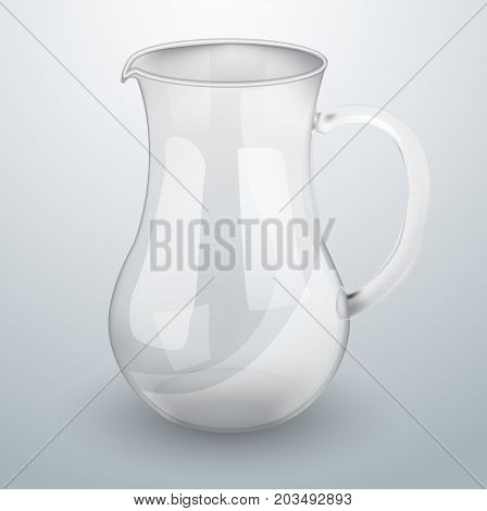Glass decanter for water or juice. Realistic vector object. Glass. Water deposit. Jug glass vector. Realistic 3D vector object