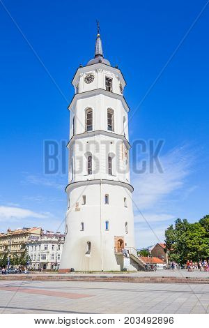Vilnius, Lithuania. The Bell Tower of Cathedral Basilica Of St. Stanislaus And St. Vladislav In Summer Sunny Day. Roman Catholic Cathedral At The Cathedral Square.