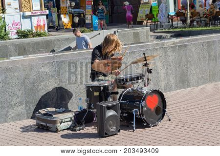 Kiev Ukraine - June 18 2017: The street drummer plays a percussion instrument on the street Khreshchatyk