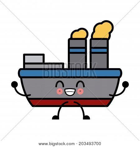 Steam Boat Ship Kawaii Cartoon
