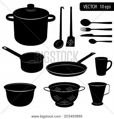 Vector Silhouettes Of Kitchen Tools.