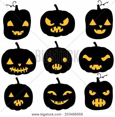 Vectorr pumpkin silhouettes in black color with yellow eyes and mouths - different expressions for Halloween invitations and backgrounds
