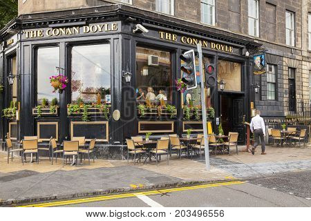 Edimburgh - August 2014: the famous conan doyle nicholson's pubs. Just across the road from Picardy Place the birthplace of Sir Arthur Conan Doyle (where you'll also find an impressive statue of Sherlock Homes)