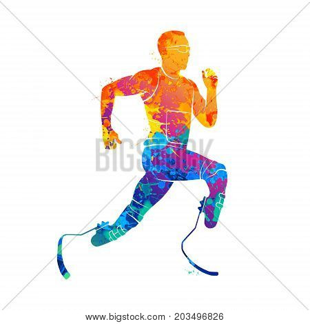 Abstract disabled athlete running from splash of watercolors. Vector illustration of paints.