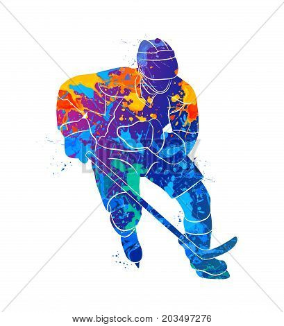 Abstract hockey player from a splash of watercolors. Vector illustration of paints.
