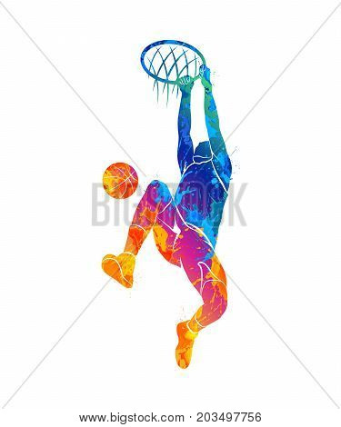 Silhouette basketball player with ball from splash of watercolors. Vector illustration of paints.