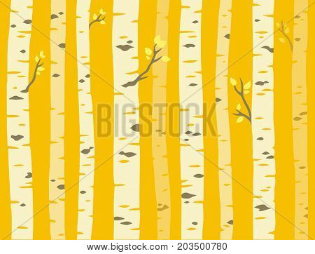 Autumn aspen grove seamless tileable background pattern. Birch or aspen trees with yellow leaves. Vector illustration.