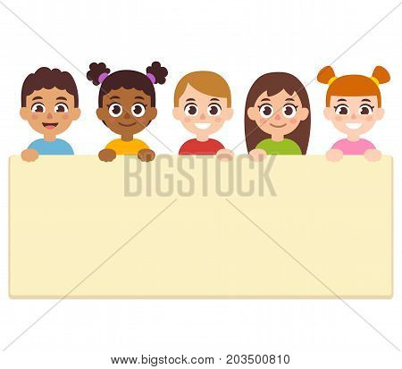 Diverse cartoon children holding blank text banner. Cute vector illustration for announcement poster.