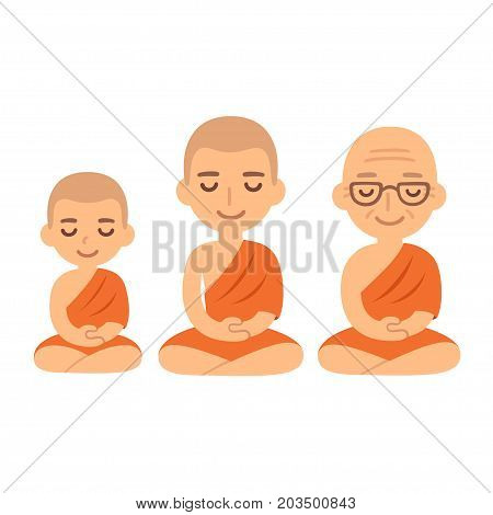 Buddhist monks sitting in meditation. Child novice young adult and senior. Cute cartoon tibetan monks vector illustration set.